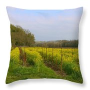 Wild Mustard Fields Throw Pillow