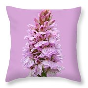 Wild Pink Spotted Orchid Throw Pillow