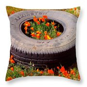 Wild Poppies Recycled Throw Pillow