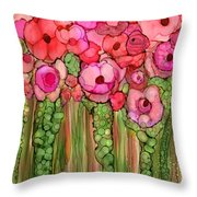 Wild Poppy Garden - Pink Throw Pillow