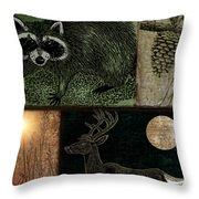 Wild Racoon And Deer Patchwork Throw Pillow
