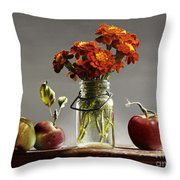 Wild Red Apples With Marigolds Throw Pillow