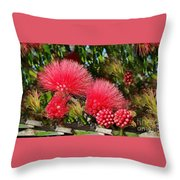 Wild, Red Fluffy Flowers  Throw Pillow