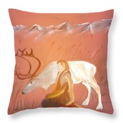 Wild Reindeer And Young Woman Becoming Friends - Poetic Painting Throw Pillow
