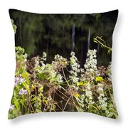 Wild Riverside Weeds And Flowers Throw Pillow