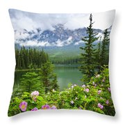 Wild Roses And Mountain Lake In Jasper National Park Throw Pillow
