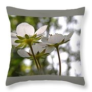 Wild Strawberry Blossoms Throw Pillow