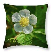 Wild Strawberry Flower Throw Pillow