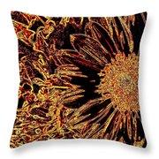 Wild Sunflower Abstract Throw Pillow