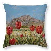 Wild Tulips In Central Crete Throw Pillow