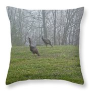 Wild Turkey Grazing At Dawn Throw Pillow