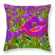 Wild Version Pink And Purple Tulips Throw Pillow