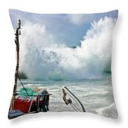 Wild Waves In Cornwall Throw Pillow