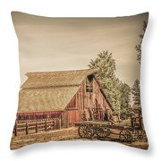 Wild West Barn And Hay Wagon Throw Pillow