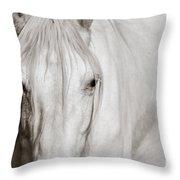 Wild White Horse Throw Pillow