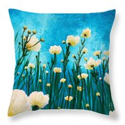 Poppies In The Blue Sky Throw Pillow