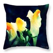 Wild Yellow Flowers On Dark Background Throw Pillow