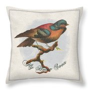 Wildcraft Bird Print On Linen Throw Pillow