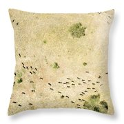 Wildebeest Disperse Over The Serengeti Throw Pillow