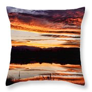 Wildfire Sunset Reflection Image 28 Throw Pillow
