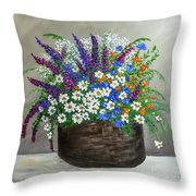 Wildflower Basket Acrylic Painting A61318 Throw Pillow