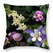 Wildflower Collage Throw Pillow