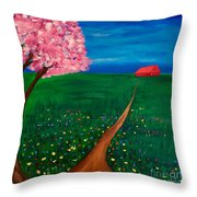 Wildflower Country Road Throw Pillow