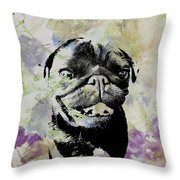 Wildflower Pug Throw Pillow