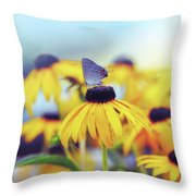 Wildflower Visitor Throw Pillow
