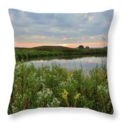 Wildflowers Along Nippersink Creek In Hackmatack Nwr Throw Pillow