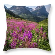 Wildflowers And A Glacier Throw Pillow