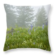 Wildflowers And Fog Throw Pillow