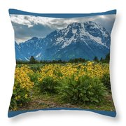 Wildflowers And Mount Moran Throw Pillow