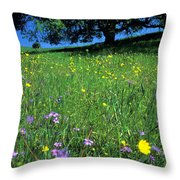 Wildflowers And The Oak Throw Pillow