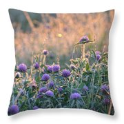 Wildflowers At Sunrise Throw Pillow