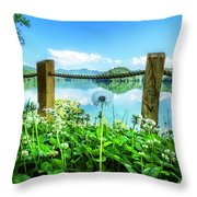 Wildflowers At The Lake In Spring Throw Pillow