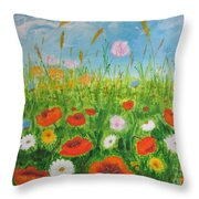 Wildflowers Field Throw Pillow
