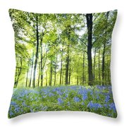 Wildflowers In A Forest Of Trees Throw Pillow