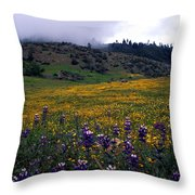 Wildflowers In Fog 2 Throw Pillow