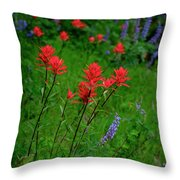 Wildflowers In Mountains Wilderness Throw Pillow