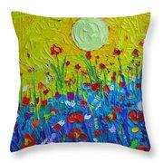 Wildflowers Meadow Sunrise Throw Pillow