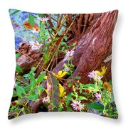 Wildflowers On A Cypress Knee Throw Pillow