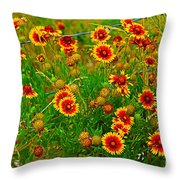 Wildflowers On The Barb Throw Pillow