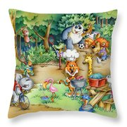 Wildlife Party Throw Pillow