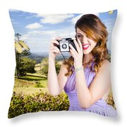 Wildlife Photographer Shooting Insects And Nature Throw Pillow