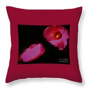 Wildly Pink On Black Flower Throw Pillow