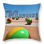Wildwood's Sign, Wildwood, Nj Boardwalk . Copyright Aladdin Color Inc. Throw Pillow