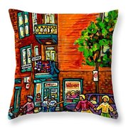 Wilensky Diner Little League Expo Kids Baseball Painting Montreal Scene Canadian Art Carole Spandau  Throw Pillow