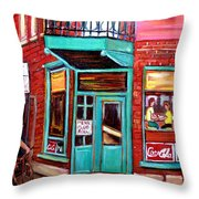 Wilenskys Cafe On Fairmount In Montreal Throw Pillow