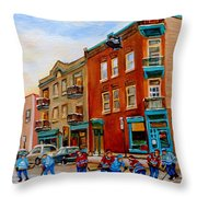 Wilenskys Diner Hockey Game In Progress Throw Pillow